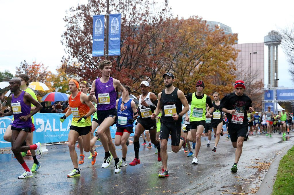 Elite runners set the pace at the start of the 45th running of the Dallas Marathon in downtown Dallas last December. (2015 File Photo/Andy Jacobsohn)