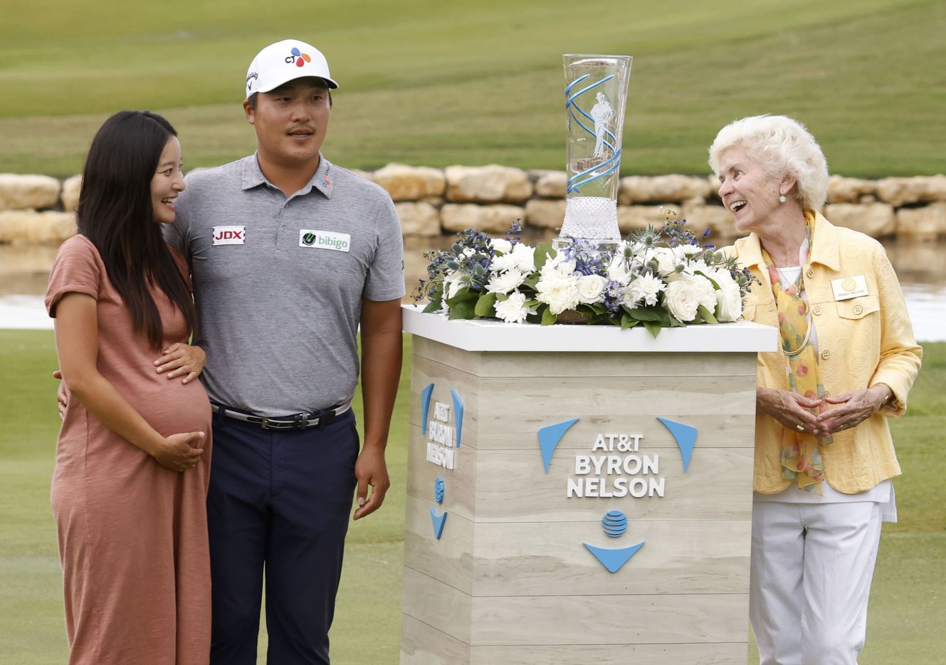 Kyoung-Hoon Lee (center) and his wife Julie (left) with Peggy Nelson (right) during the trophy presentation after winning the AT&T Byron Nelson at TPC Craig Ranch on Saturday, May 16, 2021 in McKinney, Texas. (Vernon Bryant/The Dallas Morning News)