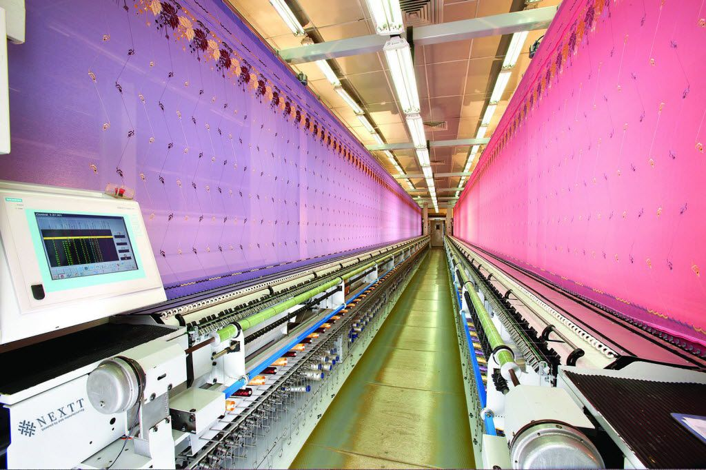 Dallas-based Nextt has its textile products manufactured by a sister company Alok International in India. The huge embroidery operation is capable of making 5 billion stitches a day.