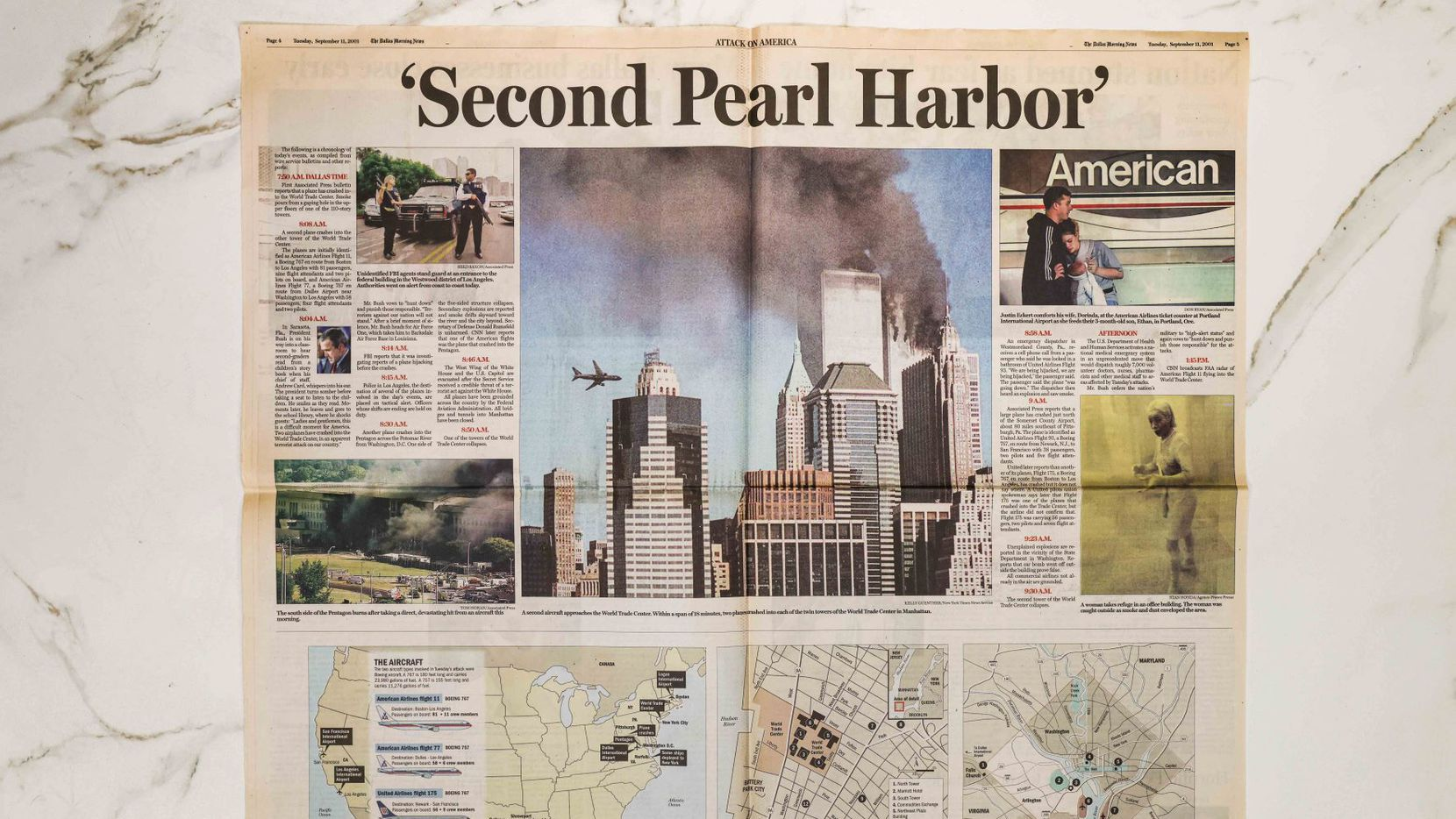An inside spread of the Sept. 11, 2001, special edition.