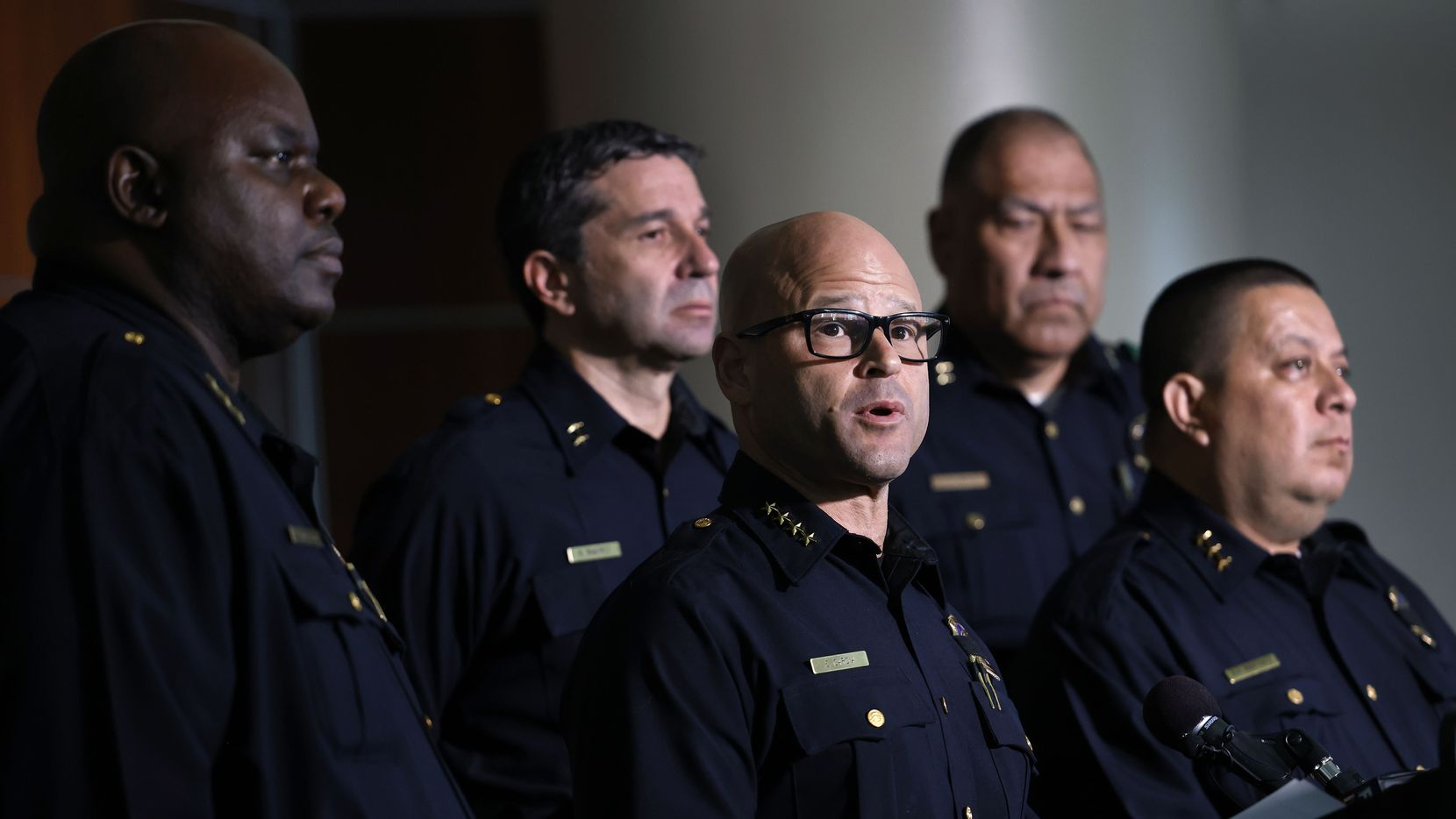 Dallas Police Chief Eddie Garcia delivers remarks about the arrest of Angela West, wife of Republican Texas gubernatorial candidate Allen West, during a press conference at Dallas Police headquarters.