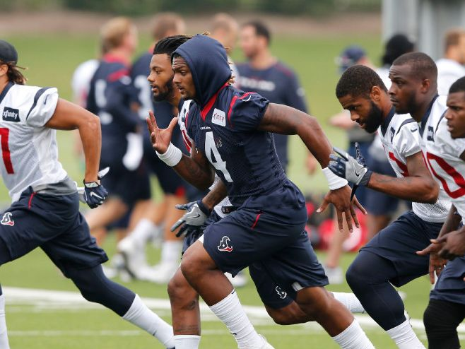 Houston Texans quarterback Deshaun Watson (4) and teammates run the field during practice at The Star in Frisco on Monday, August 27, 2017.