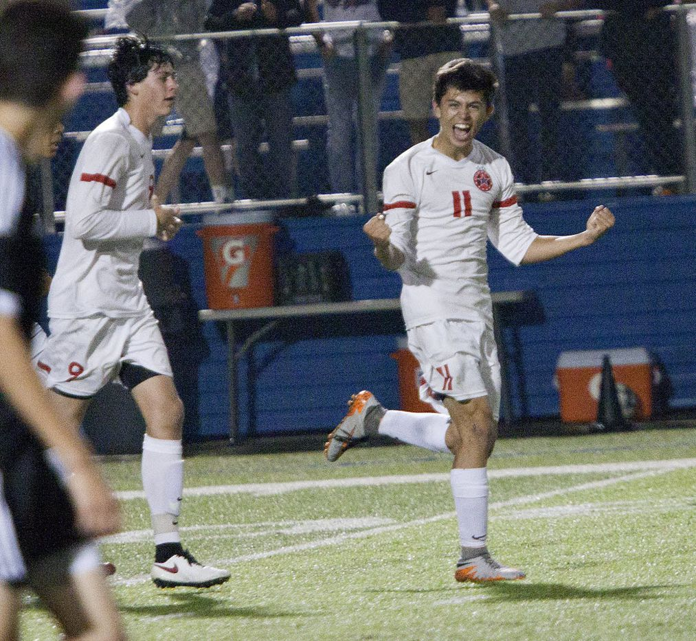 Coppell player Nick Taylor (11) celebrates a goal against Lake Travis during their UIL 6A boys State Championship soccer game at Birkelbach Field on April 16, 2016 in Georgetown, Texas.  (Thao Nguyen/Special Contributor)