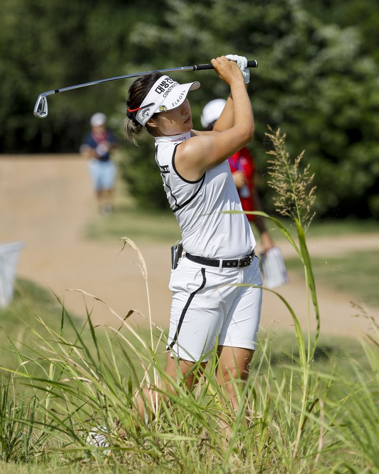 Professional golfer Jeongeun Lee6 plays out of the rough along the 14th fairway during round one of the LPGA VOA Classic on Thursday, July 1, 2021, in The Colony, Texas. (Elias Valverde II/The Dallas Morning News)