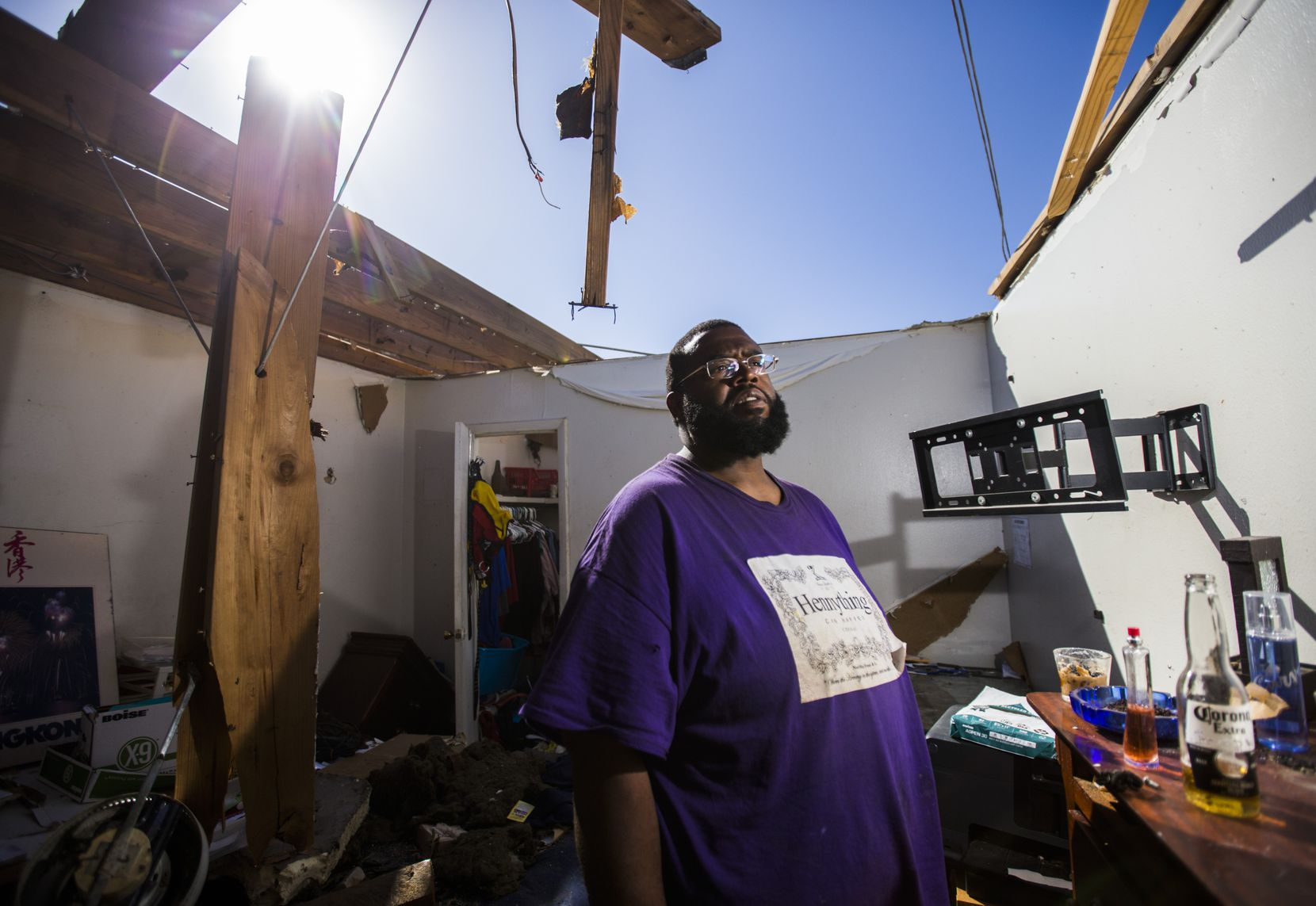 Alvin Dunbar was a resident of the Southwind until Oct. 20, when the tornado tore the roof off his townhouse. This portrait was taken three days after the storm.