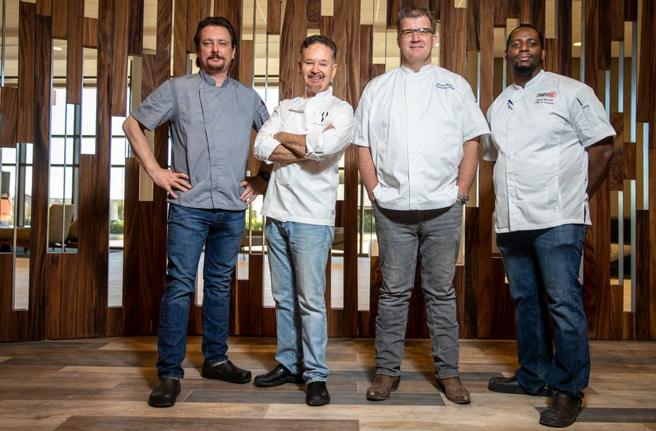 Stampede 66 chefs Tim Byres (far left), Stephan Pyles (center left), Stuart Race (center right), and Kylil Henson each were involved in creating the new restaurant in Allen. The restaurant is a license agreement for Stephan Pyles, who started Stampede 66 in downtown Dallas in 2012 but is now letting Benchmark Resorts & Hotels operate it in Allen.