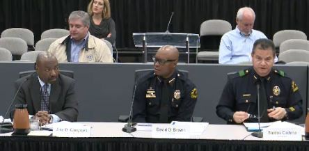 Police Chief David Brown (center) participated in the City Council's Public Safety Committee meeting on Jan. 11.