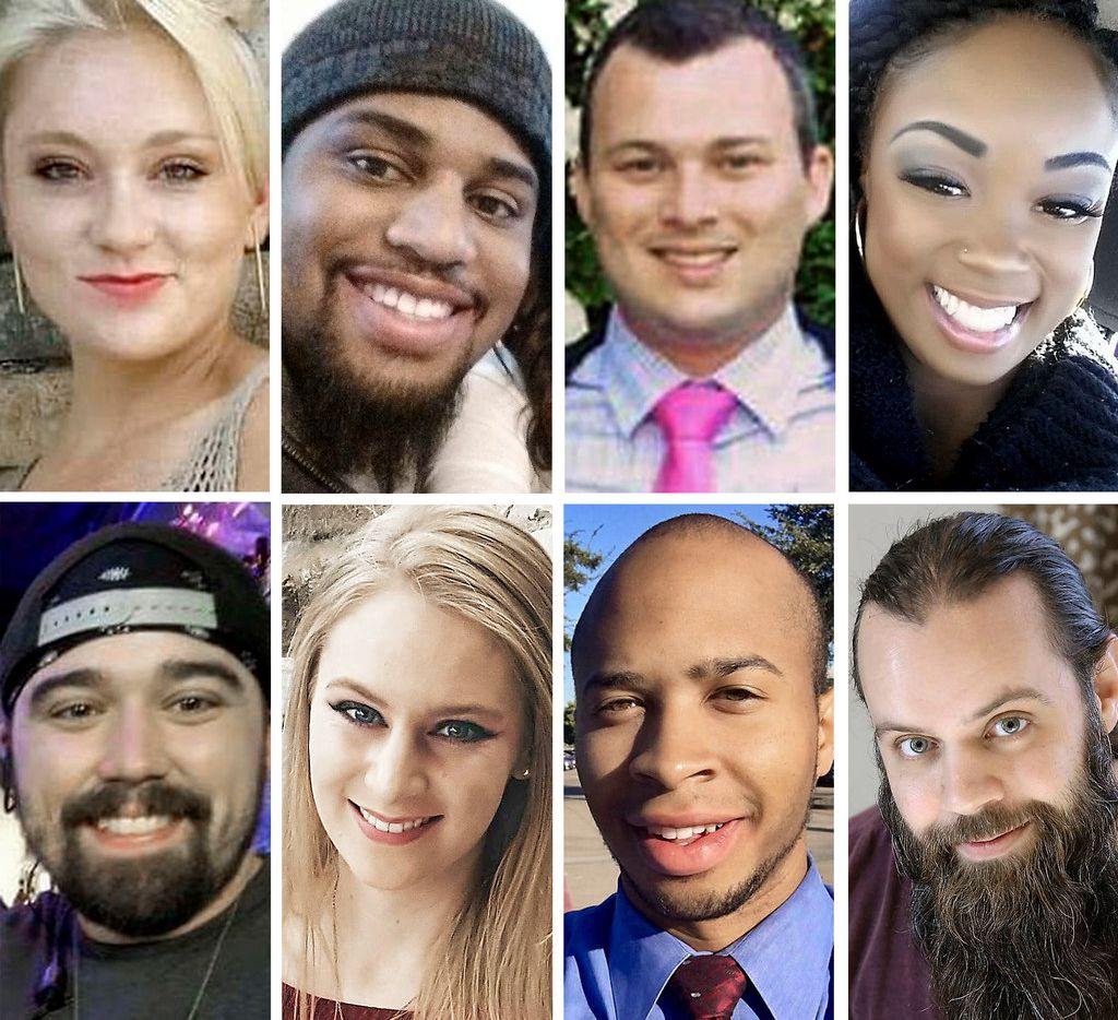 """Top row, from left: Meredith Hight, 27; Rion Morgan, 31; James Dunlop, 29; and Myah Bass, 28. Bottom row, from left: Caleb Edwards, 25; Olivia Deffner, 24; Darryl William Hawkins, 22; and Anthony """"Tony"""" Cross, 33. Police say Spencer Hight burst into Meredith's cookout in Plano on Sept. 10, killing her and seven others in one of North Texas' worst mass shootings."""
