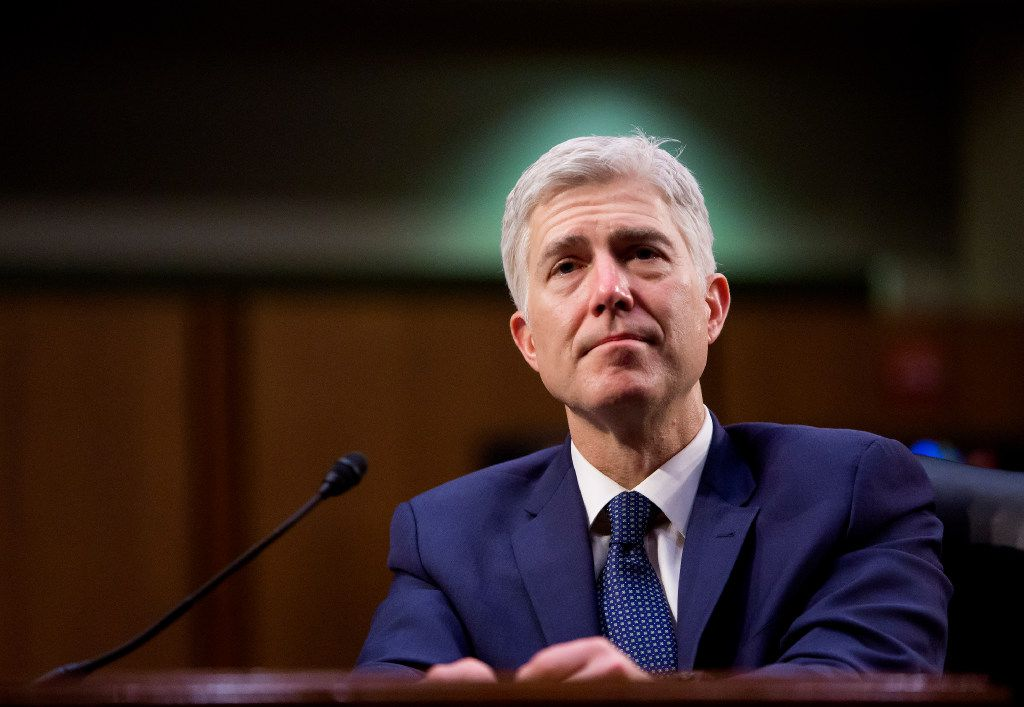 Judge Neil Gorsuch testifes on the third day of his confirmation hearing before the Senate Judiciary Committee in Washington, D.C., on March 22. (Eric Thayer/The New York Times)
