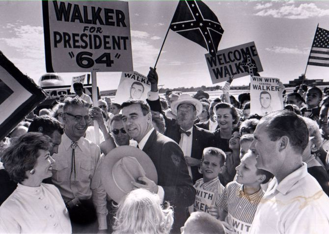 Edwin Walker received an enthusiastic welcome at Dallas Love Field in October 1962 after being arrested while protesting the use of federal troops to let a black man, James Meredith, enroll in the University of Mississippi.