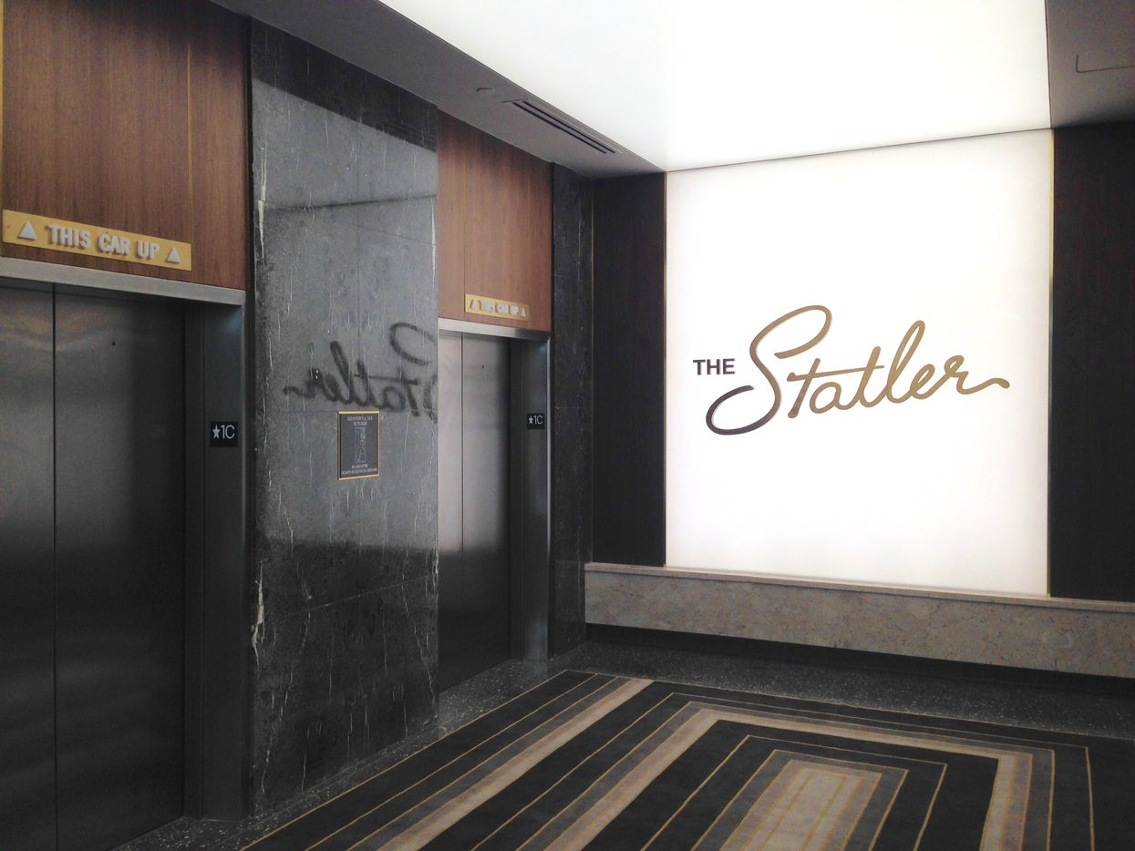 The elevator lobby of the reopened Statler Hotel.