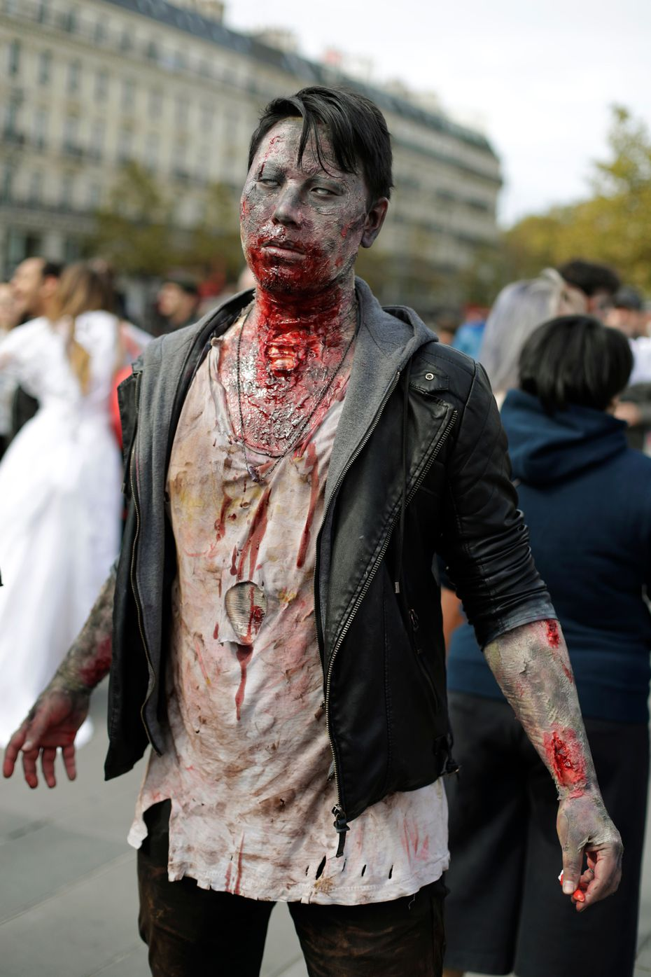 """Do as this undead dude did -- use stage makeup and tattered clothes to fully zombify yourself to terrifying lengths for the Zombie Pub Crawl in Deep Ellum."""""""