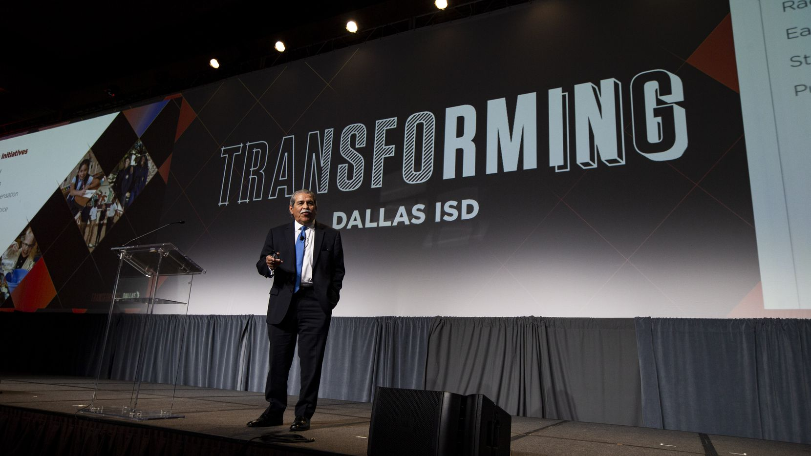 Superintendent Michael Hinojosa speaks during Dallas ISD's annual state of the district address at the Omni Hotel in Dallas on Friday.