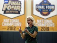 Baylor women's head coach Kim Mulkey instructs her players on the first day of NCAA college basketball practice Monday, Sept. 30, 2019, in Waco, Texas.