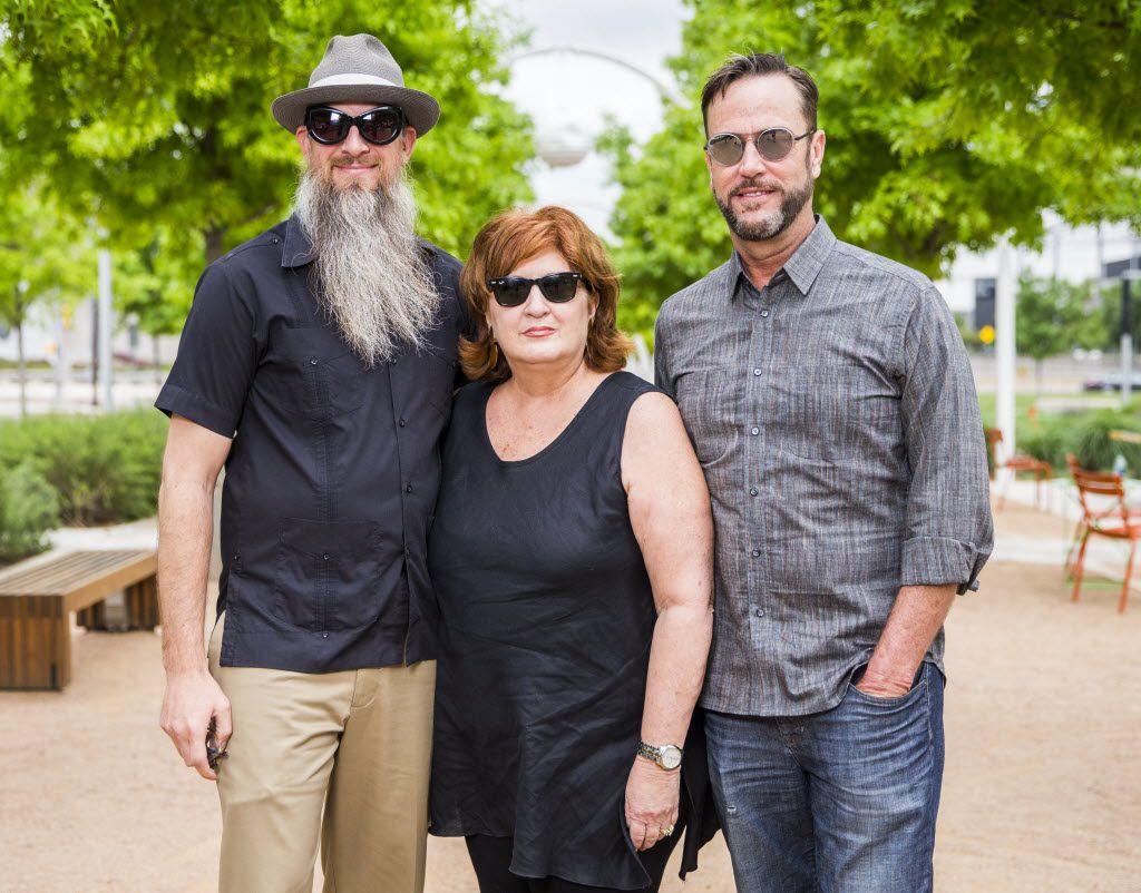 Aurora co-founders Joshua King, Veletta Forsythe Lill and Shane Pennington in Klyde Warren Park in 2015