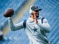 Dallas Cowboys quarterback Dak Prescott (4) warms up during the pregame workouts of an NFL game against the New England Patriots on Sunday, Oct. 17, 2021, at Gillette Stadium in Foxborough, Mass.