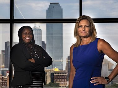 Shree Jackson (left), the Dallas County DA's office's human trafficking coordinator, and Julie Turnbull, chief of the Restorative Justice Division for the DA, are the drivers behind the office's new strategy to strike pre-trial intervention agreements with every defendant facing misdemeanor or felony prostitution charges.