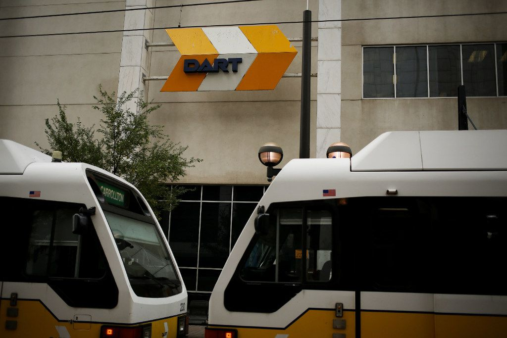 A DART Green Line train departs from Akard Station in downtown Dallas. (2016 File Photo/Andy Jacobsohn)