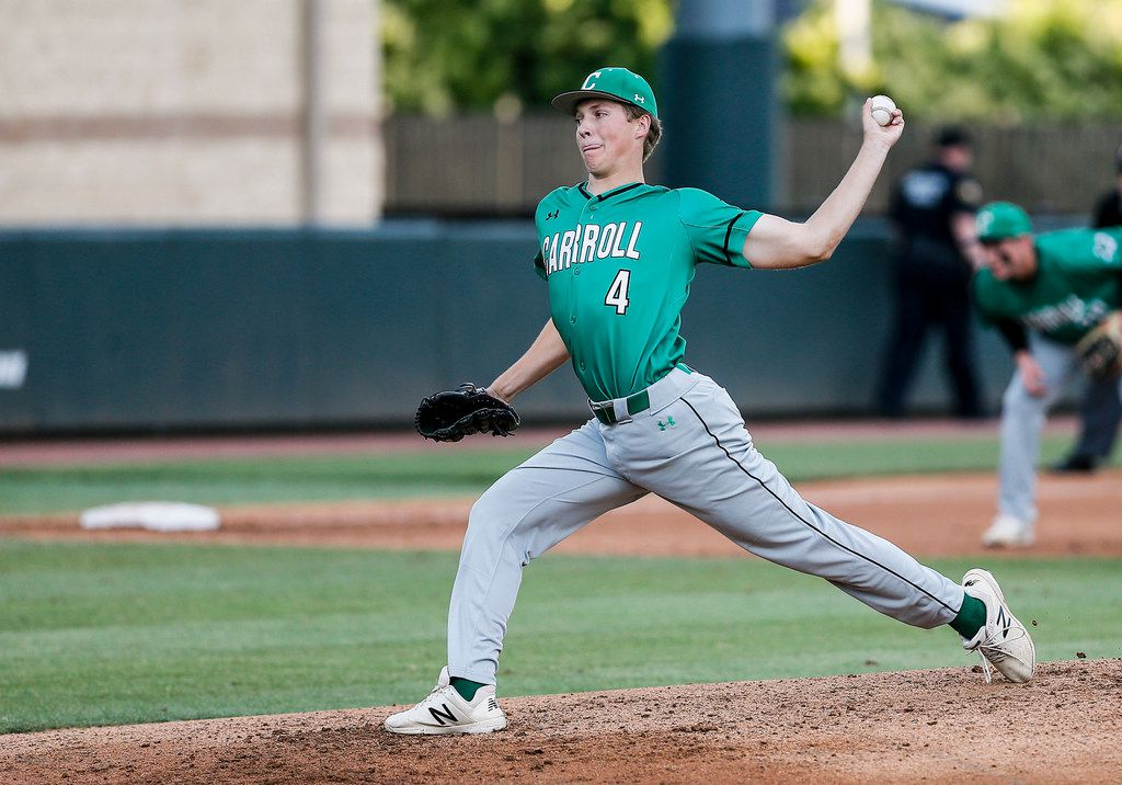 Southlake Carroll's starting pitcher Cutter Sippel throws during the first inning in game one of a best of three series Class 6A Region I final against Flower Mound at TCU's Lupton Stadium in Fort Worth, Thursday, May 30, 2019. (Brandon Wade/Special Contributor)