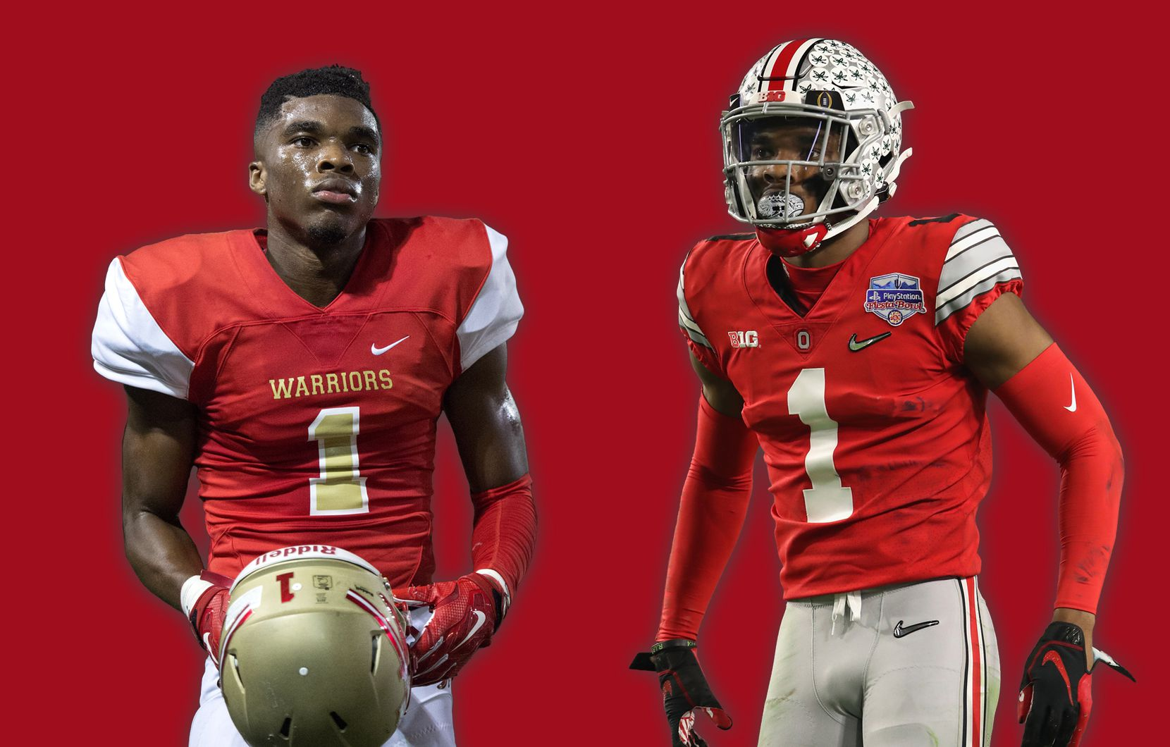 Jeffrey Okudah with South Grand Prairie in 2016 (left) and Ohio State in 2019 (right).