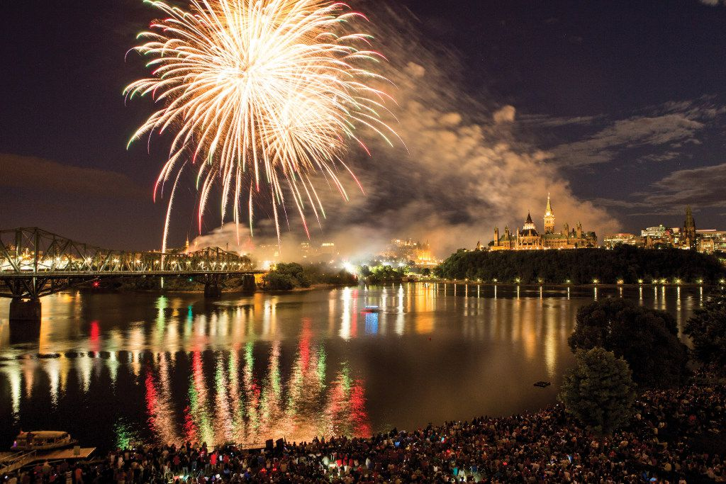 Canada Day fireworks over Ottawa's Parliament Hill.