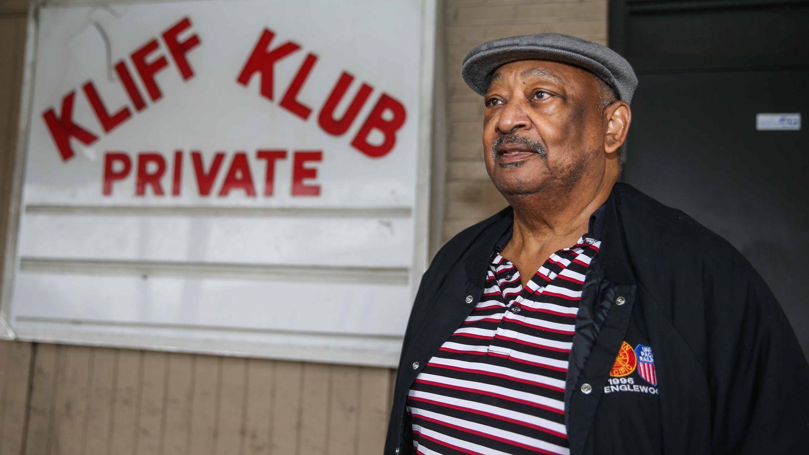 Owner Bill Frazier poses outside the Kliff Klub on Wednesday.