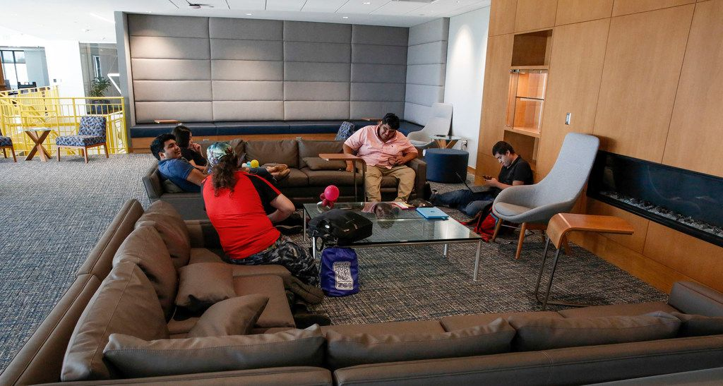 Students talk and study in one of the new Open Study spaces at the new Student Center building opened on the campus of UNT Dallas Monday, August 26,  2019. (Brian Elledge/Staff Photographer)