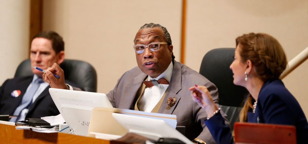 Dallas County Commissioner John Wiley Price (center) speaks next to County Judge Clay Jenkins (left) and District 4 Commissioner Dr. Elba Garcia during a Commissioners Court meeting in Dallas, Tuesday, May 2, 2017. (Jae S. Lee/The Dallas Morning News)