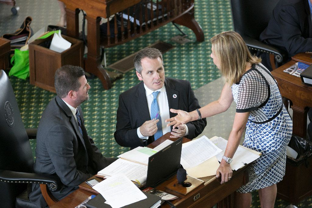 Sen. Bryan Hughes (center) briefly mounted a challenge to Straus while he was a representative in the Texas House.