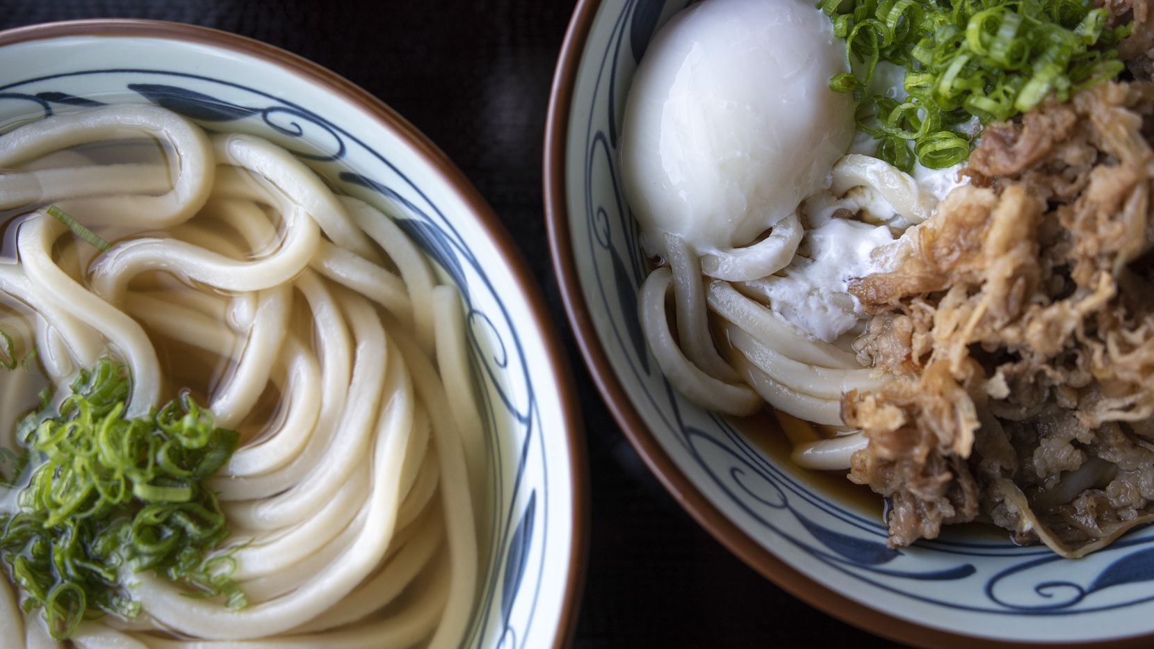 Marugame opens in Carrollton Aug. 31, 2020. Kake, an udon bowl in dashi broth (on left), and nikutama, an udon bowl with sweet beef and soft egg, are two of the menu items at the new restaurant in Carrollton.
