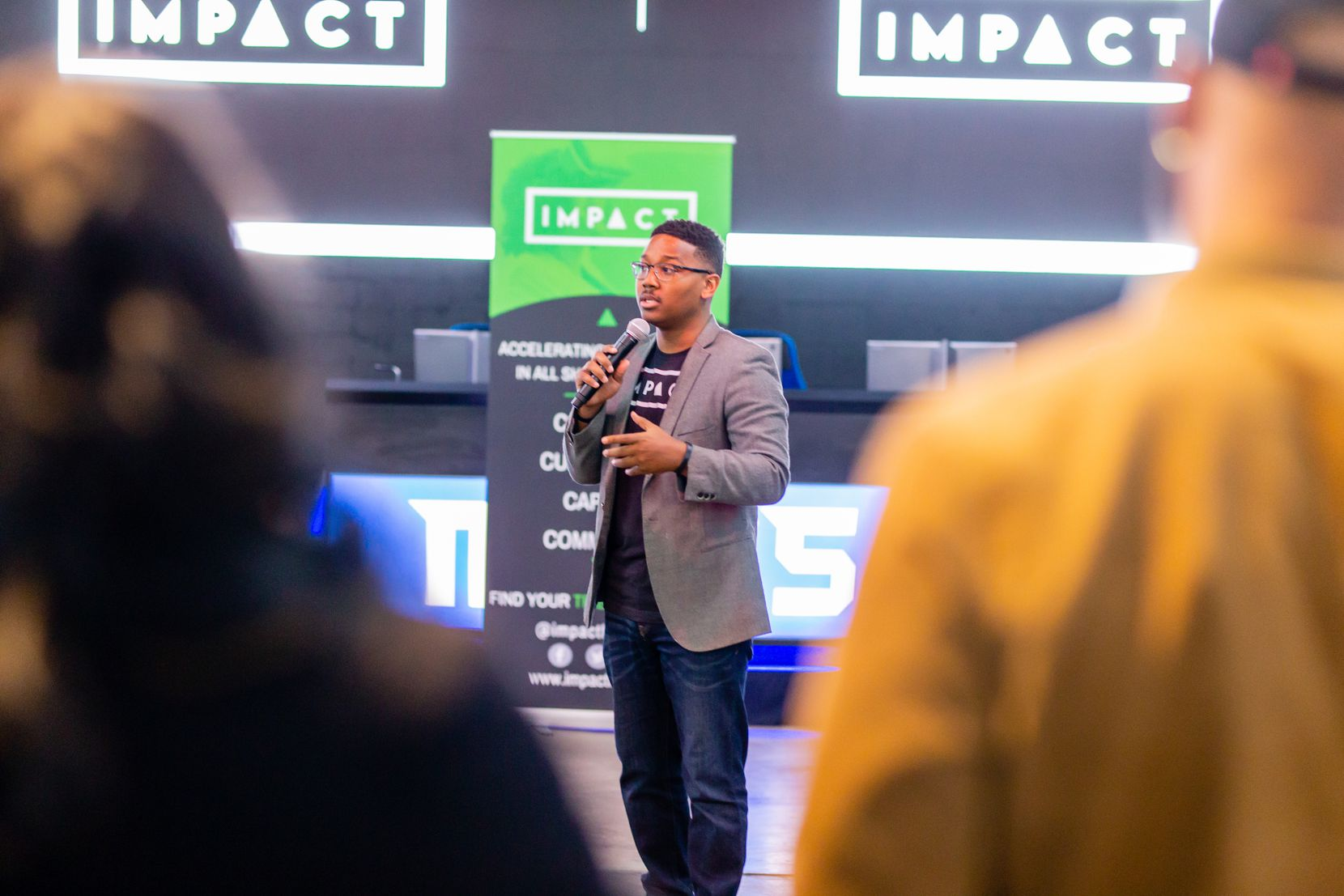 CEO and founder Benjamin Vann speaks at a VIP kickoff event for the spring cohort of the Impact Ventures Accelerator Program, before gatherings were limited.
