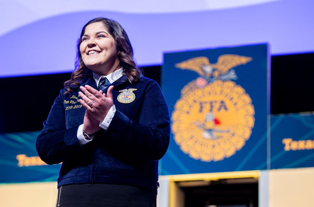 Outgoing FFA state officer and Texas A&M sophomore Kari Garcia, speaks during the State FFA convention at the Fort Worth Convention Center, Friday, July 19, 2019.