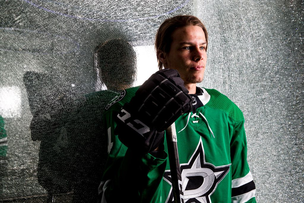 Dallas Stars defensive player Miro Heiskanen pose for a photograph on Friday, September 21, 2018 at American Airlines Center in Dallas. (Shaban Athuman/The Dallas Morning News)