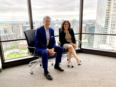 """Tucker York and Stephanie Cohen, global co-heads of consumer and wealth management at Goldman Sachs, visited the investment bank's offices on Ross Avenue on Wednesday, May 12. The two New York-based leads are looking to """"aggressively grow"""" the consumer division, which has 630 employees in Richardson."""