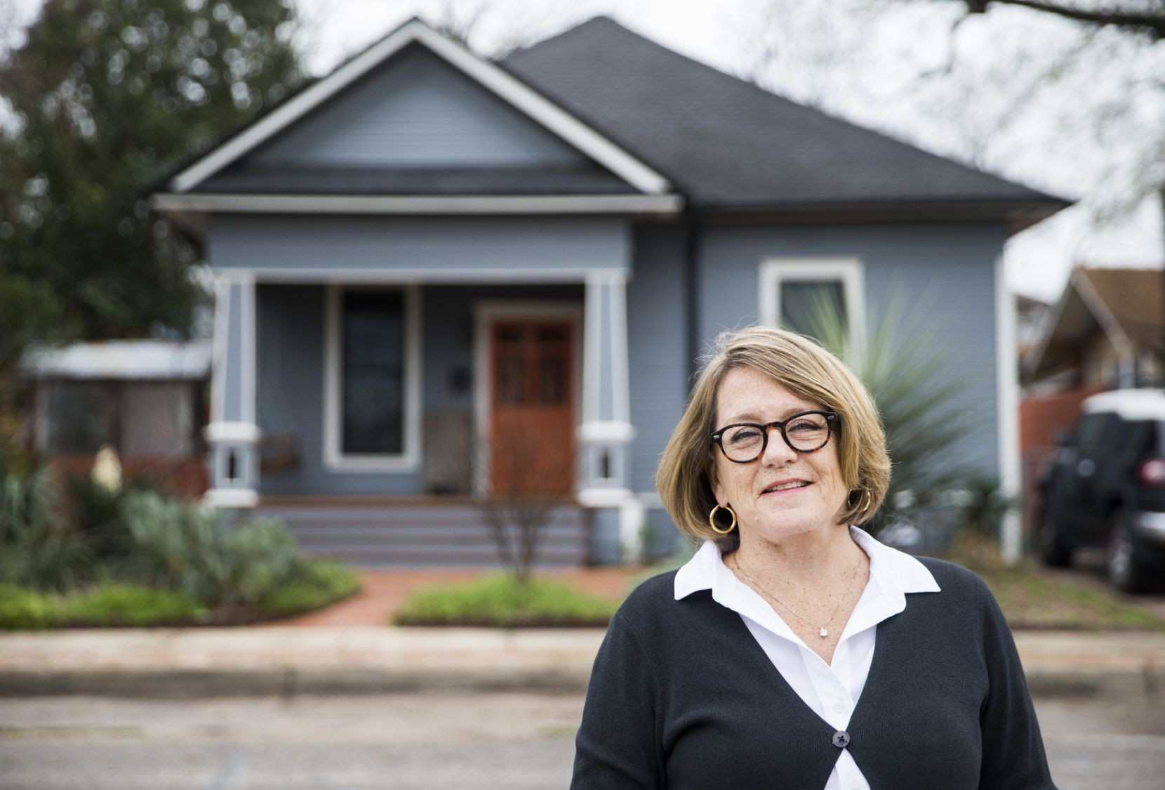Kathi Chandler poses for a photo outside of her AirBnb on Tuesday, February 18, 2020 on N Windomere Ave in Dallas.