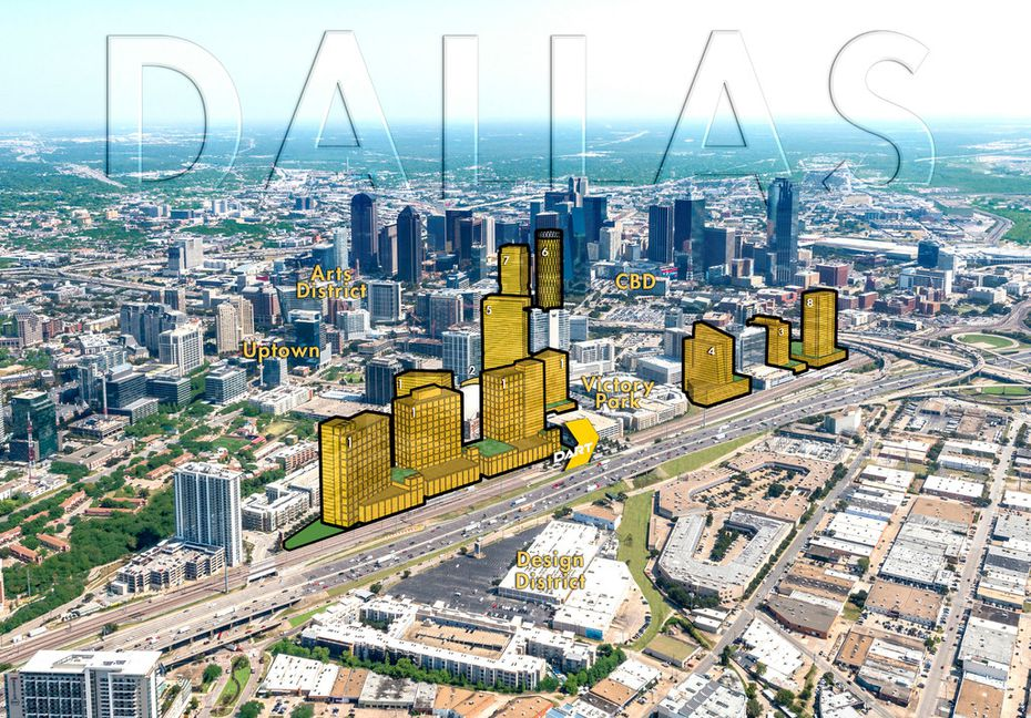A proposed site plan for Amazon HQ2 in Victory Park in downtown Dallas.
