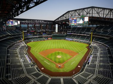 FILE - An overall view of the ballpark with the roof open as the Rangers host the Astros for a game on Friday, Sept. 25, 2020, at Globe Life Field in Arlington.