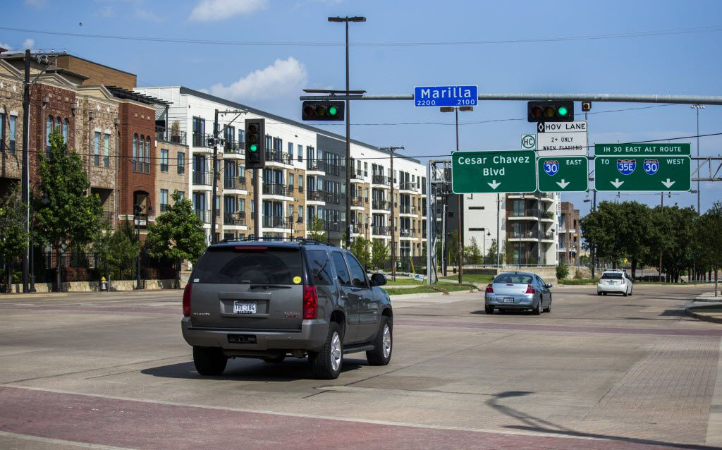 Housing has built up near the Dallas Farmers Market neighborhood at the intersection of South Cesar Chavez Boulevard and Marilla Street, near Interstate 30.