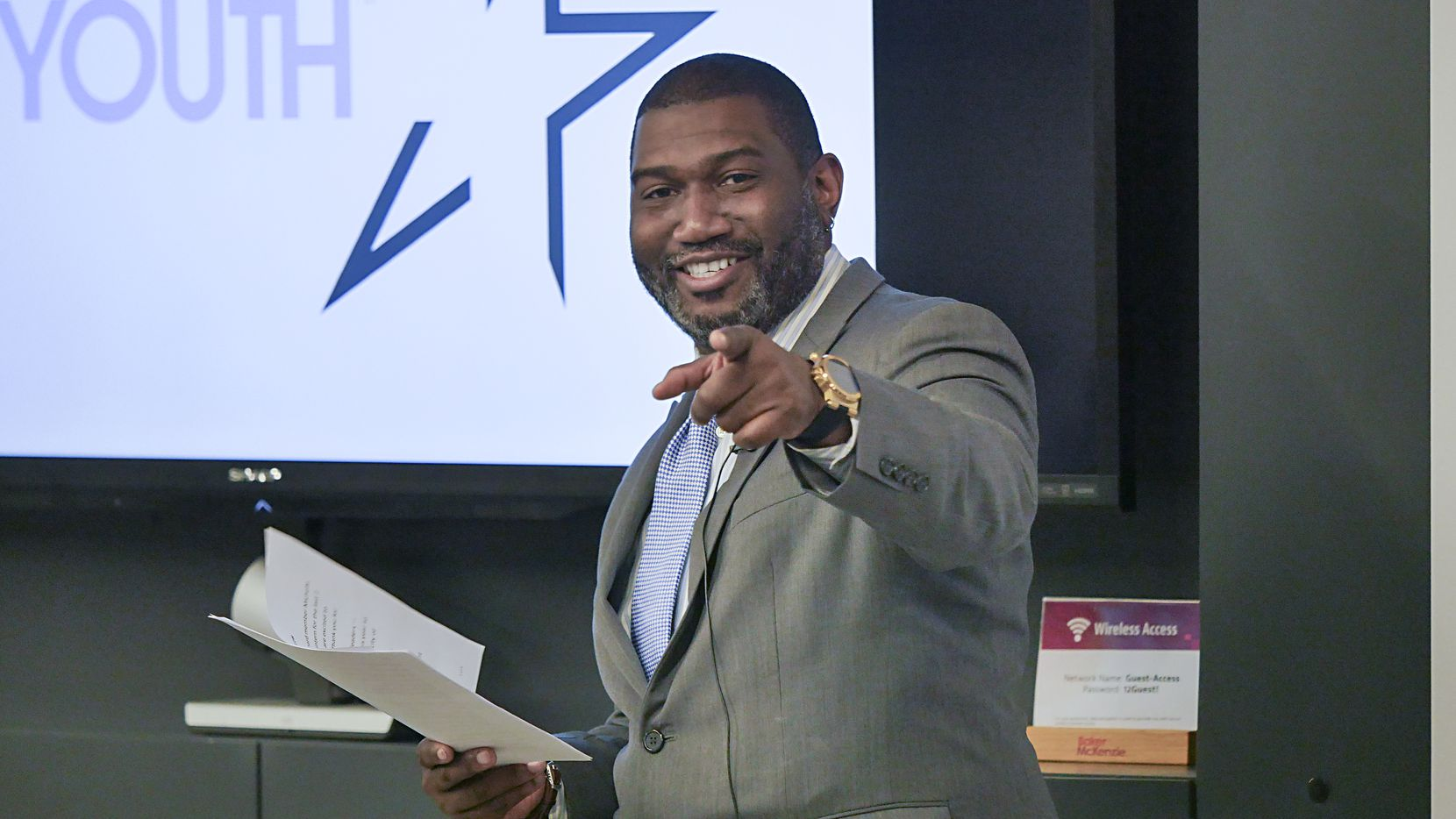 Antoine Joyce, vice president and city leader of the All Stars Project of Dallas, spoke at a February 2020 orientation event for participants in the group's Development School for Youth program.
