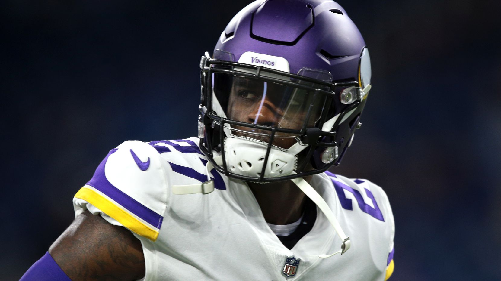 Minnesota Vikings safety Jayron Kearse (27) is seen during the first half of an NFL football game against the Detroit Lions in Detroit, Michigan USA, on Sunday, December 23,  2018.