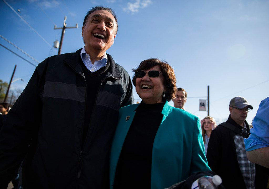 Former San Antonio mayor Henry Cisneros and  gubernatorial candidate and former Dallas County Sheriff Lupe Valdez marched in the Martin Luther KingJr. Day March on Monday in San Antonio. Valdez grew up in San Antonio.