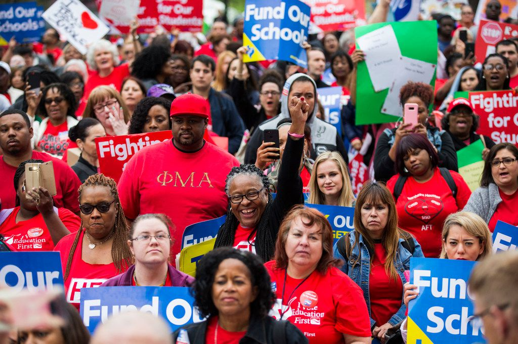 Educators and supporters listen to speakers during the Texas Public Education Rally on in March at the Texas Capitol in Austin. Teachers pushed for school finance reform and pay raises.