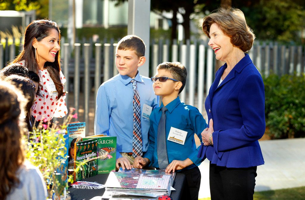 Former First Lady Laura Bush (right), the founder of Texan by Nature, visited with George W. Bush Elementary students from Wylie, Texas.