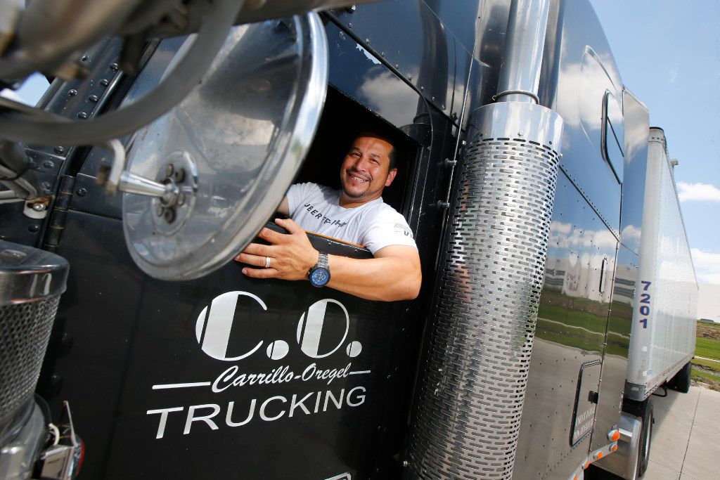 Sam Carrillo, an Arlington truck driver who uses Uber Freight, at Niagra Bottling in Dallas on June 12, 2017.
