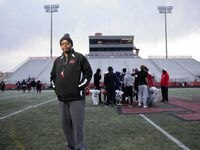 Cedar Hill coach Carlos Lynn poses for a photo following practice at Longhorn Stadium in Cedar Hill on Tuesday, Jan. 12, 2021. Cedar Hill plays Katy in the Class 6A Div. II state championship at 1 p.m. Saturday at AT&T Stadium.
