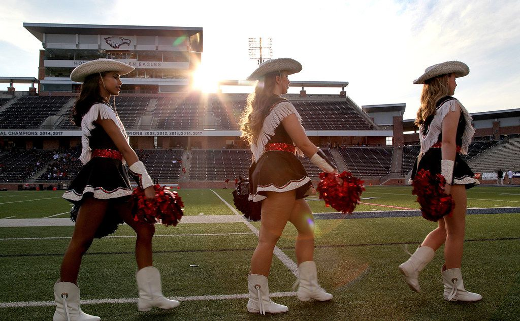 The Lovejoy High School Majestics drill team march the sideline before kickoff as Colleyville Heritage High School hosted Lovejoy High School as part of the Tom Landry Classic at Eagle Stadium in Allen on Saturday, August 31, 2019. (Stewart F. House/Special Contributor)