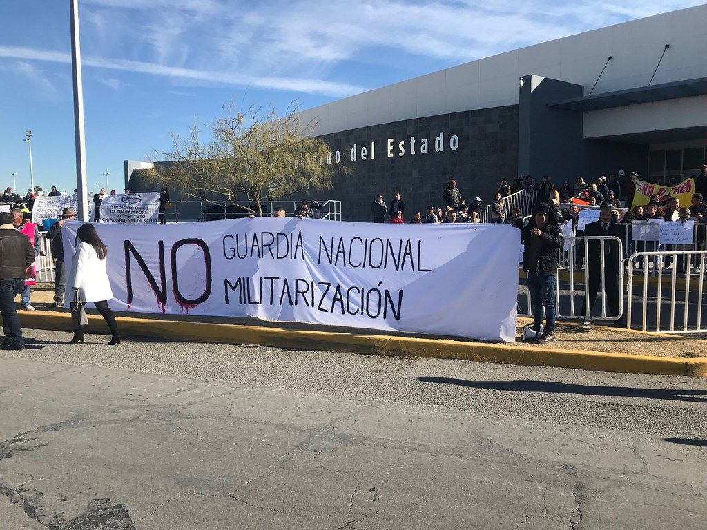 A group demonstrated in Ciudad Juarez on Saturday against a plan by President Andres Manuel Lopez Obrador to create a national guard.