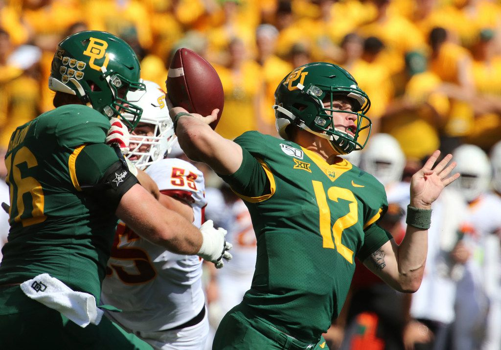 Baylor quarterback Charlie Brewer throws downfield against Iowa State in the first half of an NCAA college football game, Saturday, Sept. 28, 2019, in Waco, Texas. (Rod Aydelotte/Waco Tribune Herald, via AP)