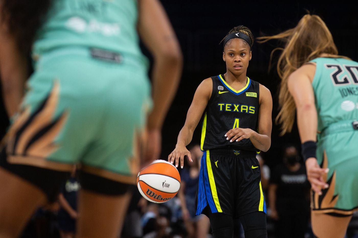 Dallas Wings guard Moriah Jefferson (4) looks for the next play during their game against New York Liberty at College Park Center in Arlington, TX on September 11, 2021.  (Shelby Tauber/Special Contributor)