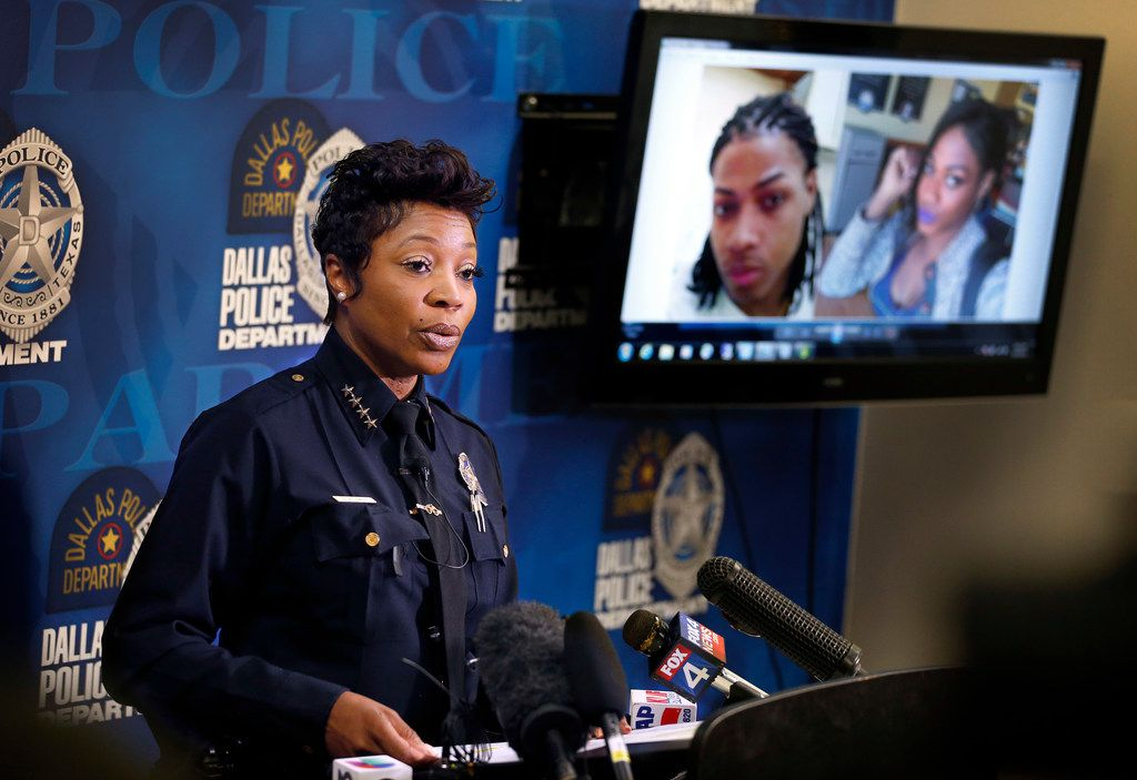 Dallas Police Chief U. Reneé Hall spoke Monday about the death of Chynal Lindsey, a black transgender woman found dead this weekend at White Rock Lake. At the news conference, the police department displayed both a recent (right) and older photo of Lindsey.
